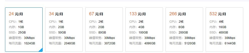 腾讯云:24元/月/1GB内存/25GB SSD空间/1TB流量/30Mbps端口/KVM/新加坡CN2/硅谷